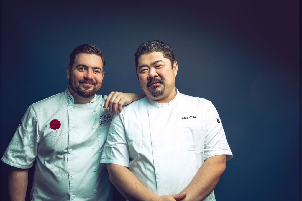 Chop Steakhouse & Bar's Executive Chef, Stephen Clark, with old friend and mentor, 2019 Pinnacle Awards Chef of the Year, Chef Alex Chen, at the launch of the Steak Masters - In Pursuit of Perfection tour.